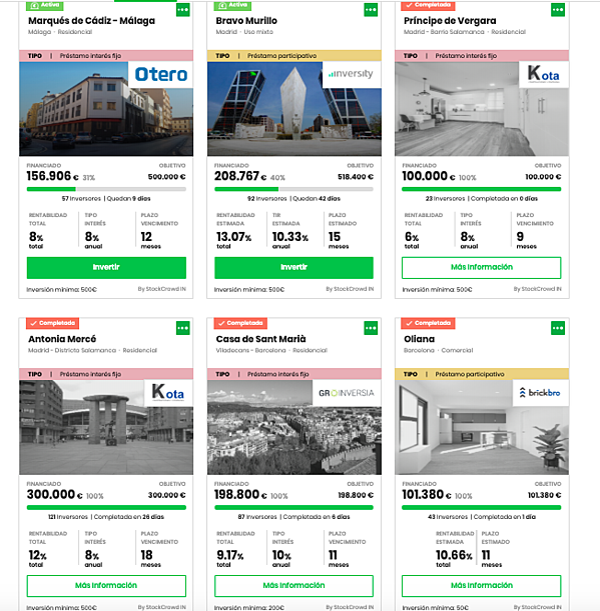 Lista oportunidades inversión con fotorgrafía edificios